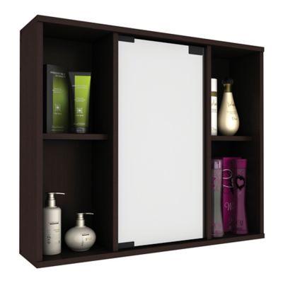 Gabinete para Baño Natura 1 Puerta con Espejo 50.3x60x14.6 cm Wengue