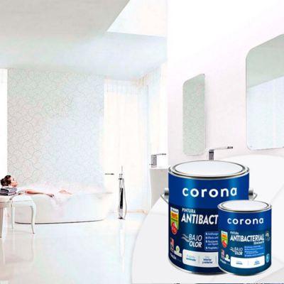 Pintura para Interior Blanco Antibacterial 1 Galón + 1/4 Blanco para Interior