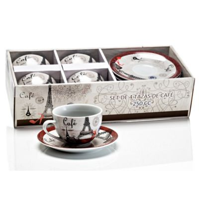 Set de Cafe 4 Tazas 250 cc Paris Porcelana