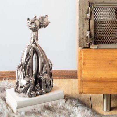 Escultura Gato Duo Plata 35 cm