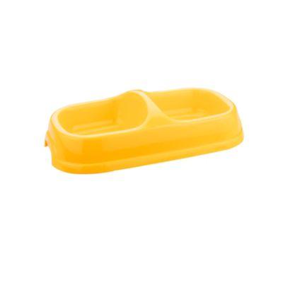 Comedero plástico doble pequeño 22 cm boca base 28 cm