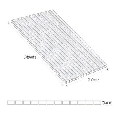 Lámina Alveolar 6mm 5.90X2.10mt Bronce