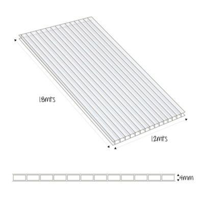 Lamina Difusora Policarbonato 4mm 1.2x1.8m Cristal 2.16m2