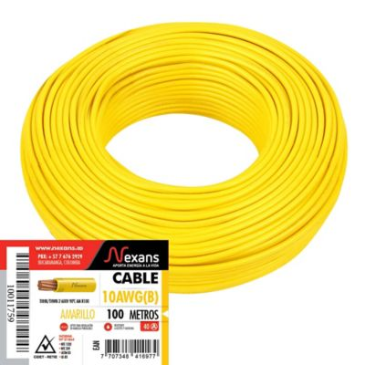 Cable #10 100m Amarillo