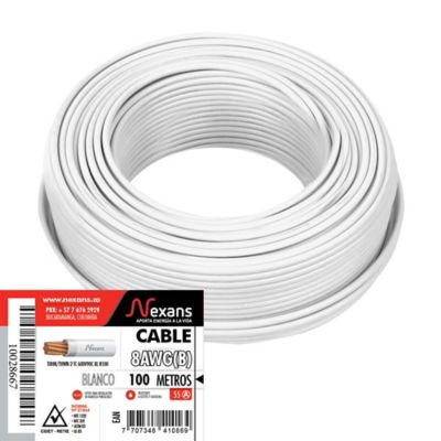 Cable #8 100m Blanco