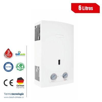 Calentador De Agua Tiro Natural 6 Litros A Gas Natural Micro Blanco
