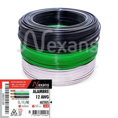 Propack 3 Rollos de Alambre N12 X 100M Blanco, Negro y Verde