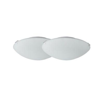 Set X 2 Plafones Basic 25cm 1 Luz E27 Blanco Vidrio