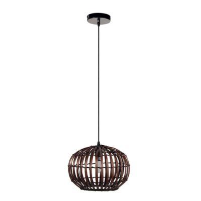 Lámpara Colgante Fibra Rattan 30 cm 1 Luz Rosca E27 Café