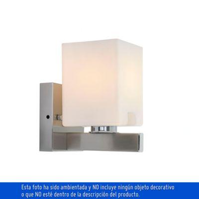 Aplique Clasic Cubo 1 Luz Rosca E27 Satín - Vidrio