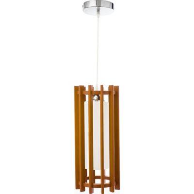 Lámpara Colgante Madera Santos Cilindro 1 Luz Rosca E27 Madera Café