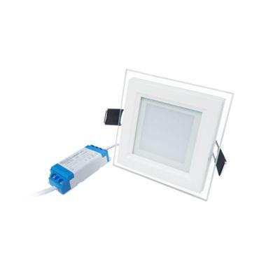 Panel LED Con Vidrio Cuadrado 510 Lúmenes30.000 Horas Vida Útil 6w Luz Fría