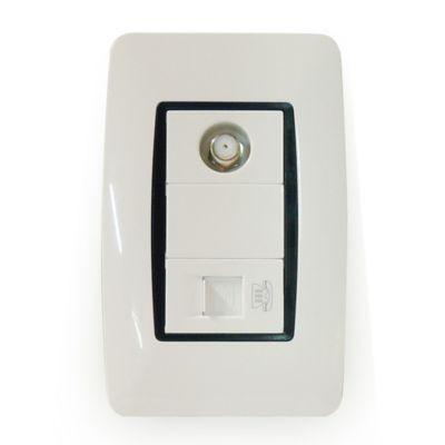 Toma CaTV Coaxial y Conector RJ11 con Tapa Voretti