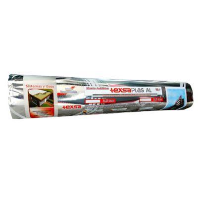 MANTO ASFÁLTICO IMPERMEABILIZANTE  TEXSAPLAS AL 3.6 - 3.6mm x 10m2 Foil Aluminio - impermeabilización y reparación de humedad