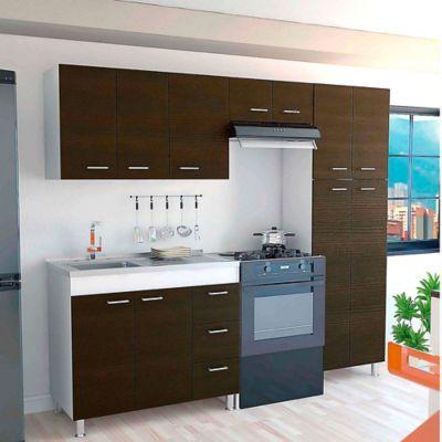 Cocina Integral Ferreti 2.20 Metros 11 Puertas 3 Cajones Wengue Incluye Mesón Izquierdo En Acero Inoxidable