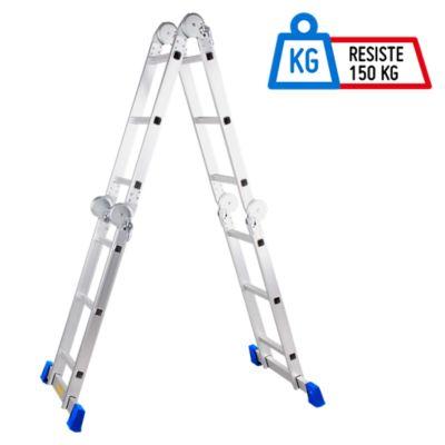 Escalera 3.55mt 12 Pasos Plataforma + Multipropósito 150kg