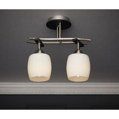 Lámpara para Techo Almeria 2 Luces Rosca E27 Satín - Vidrio