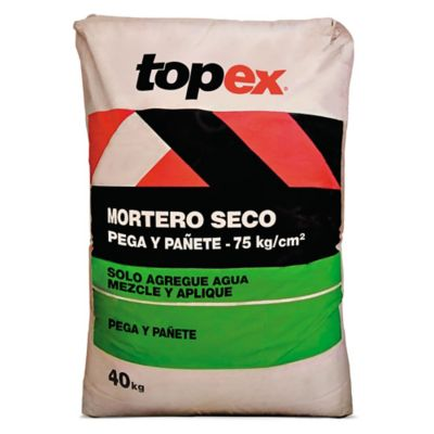 Mortero Topex Seco Pega y Pañete 75kg/cm2 40kg