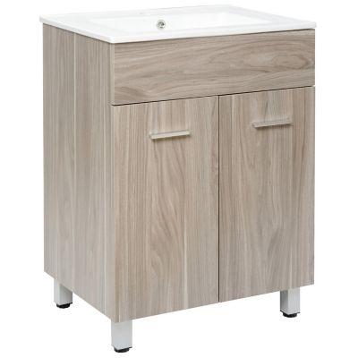 Mueble de baño Abrantes Gris 60x46x85 cm con lavamanos Blanco