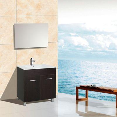 Mueble de baño Abrantes Wengue 46x80x85cm con lavamanos Blanco