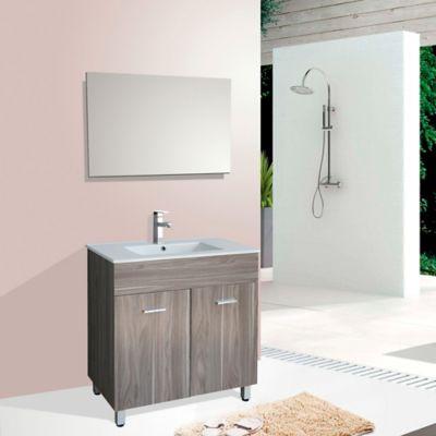 Mueble de baño Abrantes Nuez 46x80x85cm con lavamanos Blanco