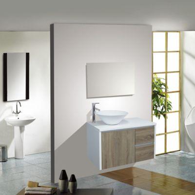 Mueble de baño Blanco y madera 46x80x50cm con lavamanos Lagoa Vessel Blanco Brillante
