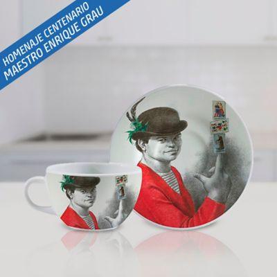 POCILLO CAFE + PLATO CAFE X2und GRAU A