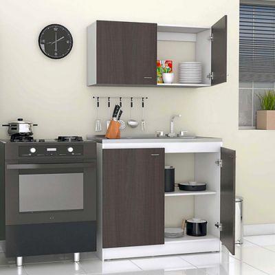 Cocina Integral Nápoles 1 Metro Roble Ahumado - Blanco Incluye Mesón Derecho