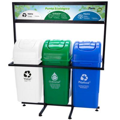 Punto Ecologico 55 Lt Verde-Blanco-Azul