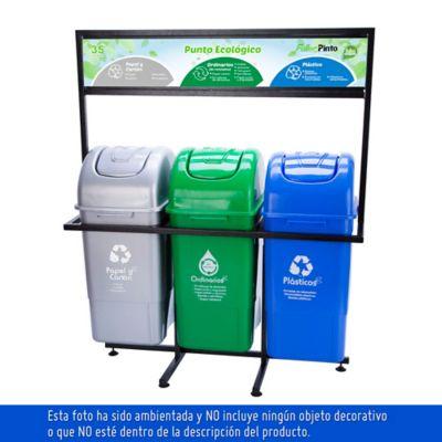Punto Ecológico 35 Lts Verde Gris  Azul