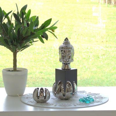 Escultura Cabeza Buda Zen 25.3 cm Plata