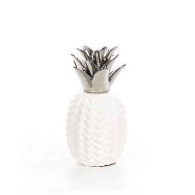 Fruta Piña 24 cm Blanco Plata