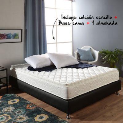 Colchón Basic Pillow Sencillo 100x190cm + Basecama + Almohada