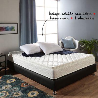 Colchón Basic Pillow Semidoble 120x190cm + Basecama + Almohada
