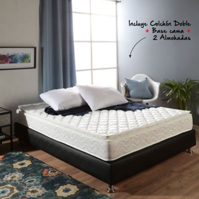 Colchón Basic Pillow Doble 140x190cm + Basecama + Almohadas