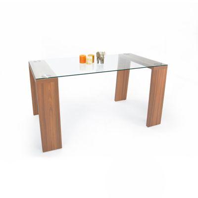 Mesa para Comedor Milán 76x148x79 cm en Vidrio templado y Estructura Arce