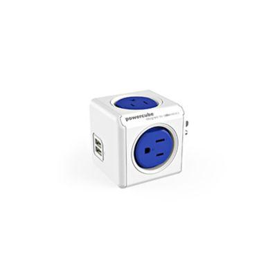 Multitoma Cubo Azul 4 Salidas 2 Puertos USB   Power Cube   Electricidad