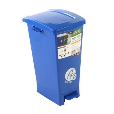 Caneca Pedal 36 Litros Azul Plástico