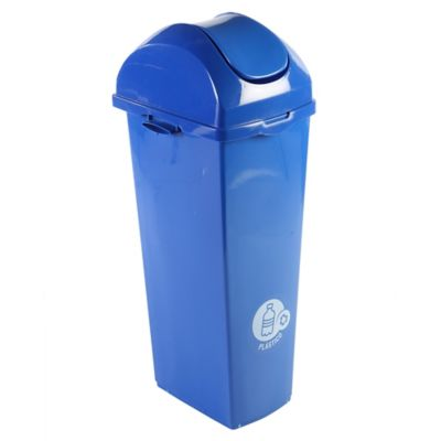 Caneca Vaivén Tapa Curva 51 Litros Azul Plástico