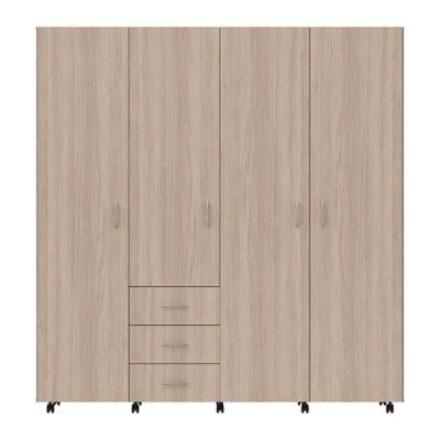 Armario 4 Puertas 3 Cajones 190x180x47cm Latte