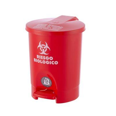 Caneca Plástica Pedal 4.5 Lt Rojo Riesgo Biológico