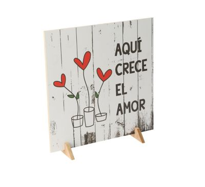 """Cuadro Decorativo Doble Cara 30x30 cm """"Aquí Crece el Amor"""""""