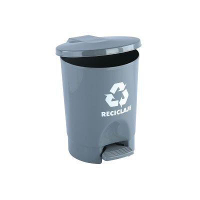 Papelera de pedal 4,5 litros redonda gris reciclaje
