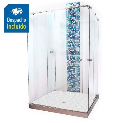 División para Baño Corrediza 80. a 90x180 cm Vidrio de 8 milímetros Premium Barra Deslizante Elite