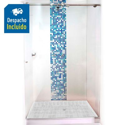 División para Baño Corrediza 110.1 a 120x180 cm Vidrio de 8 milímetros Premium Barra Deslizante Básica
