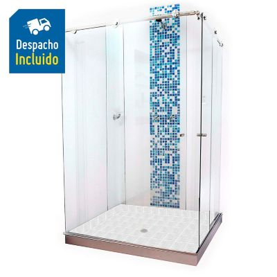 División para Baño Corrediza 100x100x180 cm Vidrio de 8 milímetros Premium Barra Deslizante Básica