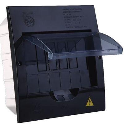 Tablero Enchufable Monofase 6 Circuitos Sin Puerta No Totalizador Negro