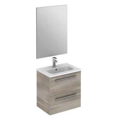 Mueble de baño Street Gris 50x50x35 cm con lavamanos blanco y espejo