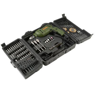 Kit Taladro Percutor 3/8-pulg 600W 3000RPM VVR + 90 Accesorios