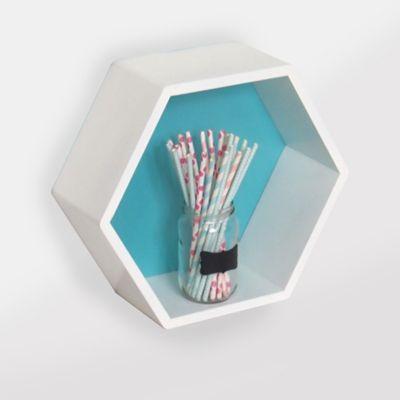 Repisa Rombo de 34 x 30 cm Blanco y Azul